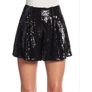 DVF Black Sequins Shorts Size 4